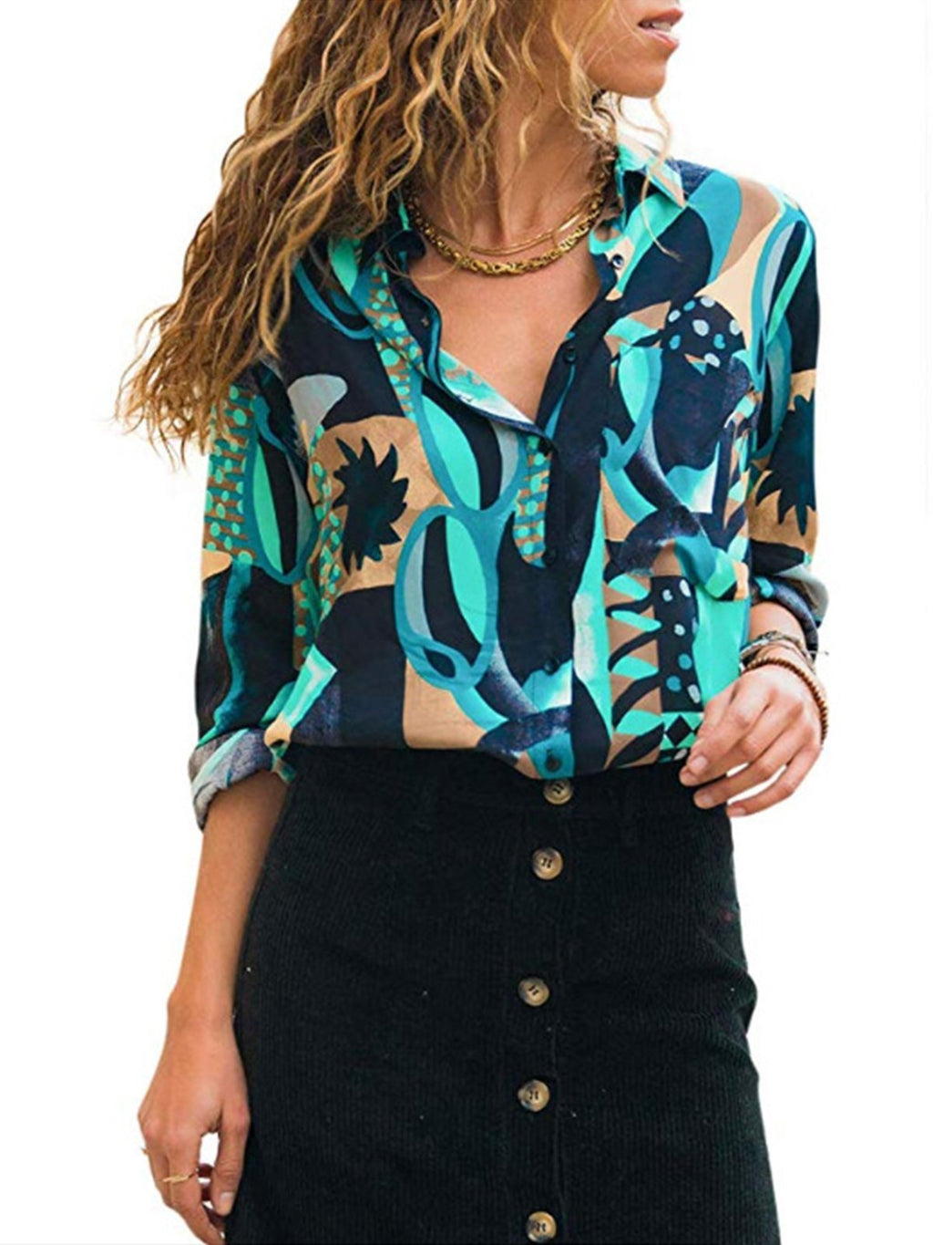 Casual V Neck Long Sleeve Floral Chiffon Shirt - Popross