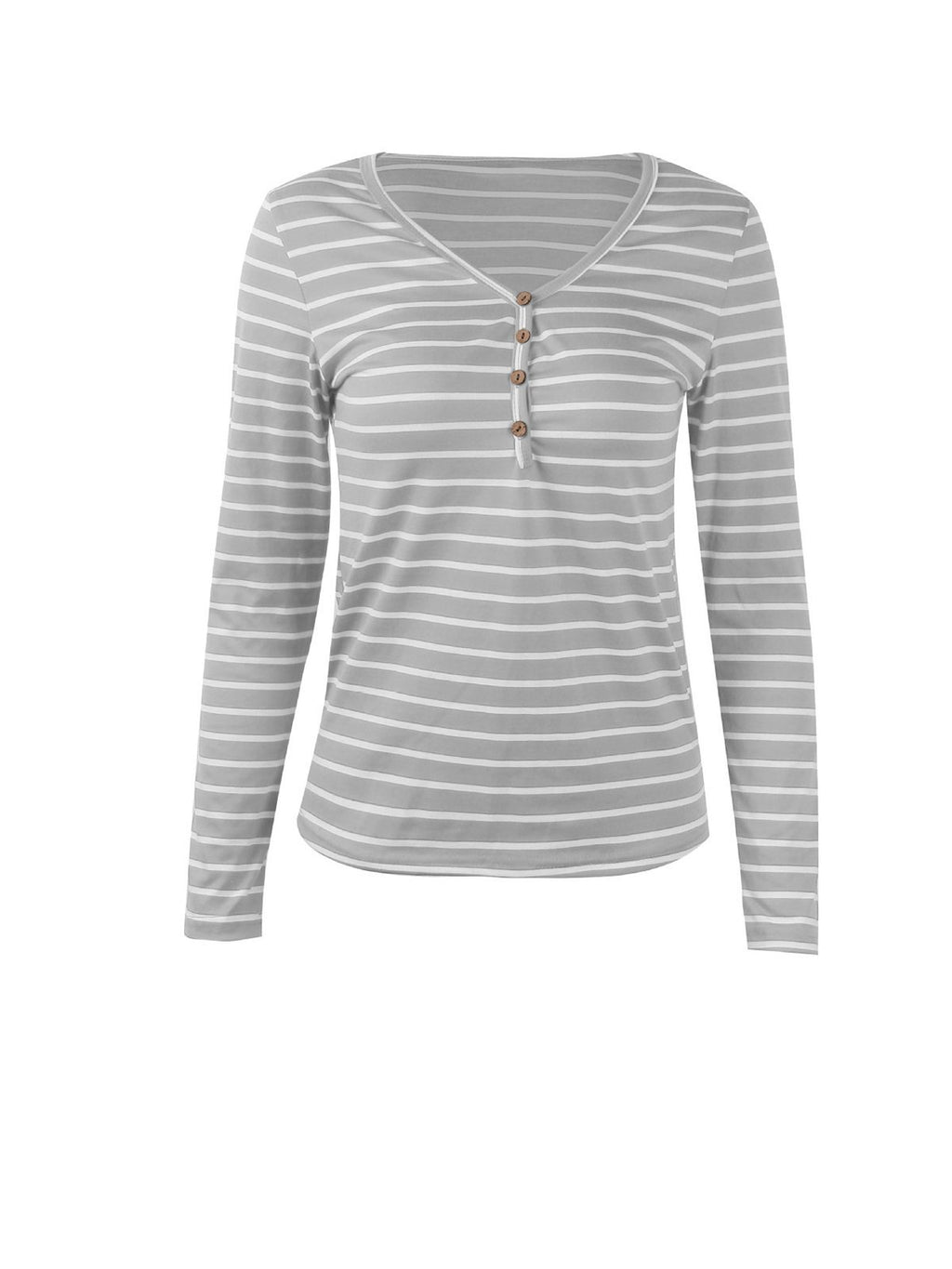 Casual Stripe Long Sleeve Women T-shirt - Popross