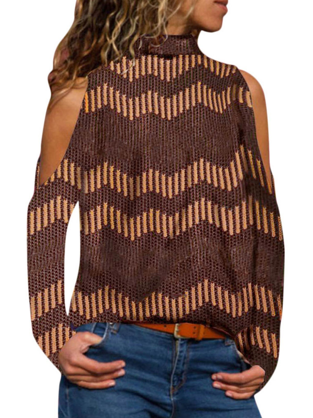 Coffee Striped Turtle Neck Long Sleeve T-shirt - Popross