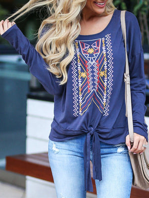 Animal Totem Print Long Sleeve Self-tied Hem Women Blouse - Popross