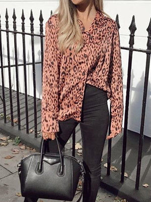 Turn Down Collar Single Breasted Leopard Blouses - Popross