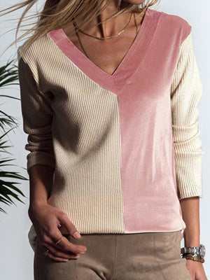 Khaki/Pink Sexy V Neck Casual Color Block Blouse - Popross