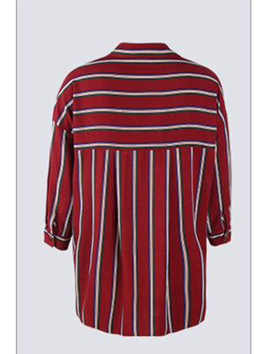 Red Contrast Striped Long Sleeve Shirt - Popross