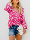 V Neck Lace Up Long Sleeve Floral Printed Casual Blouses - Popross