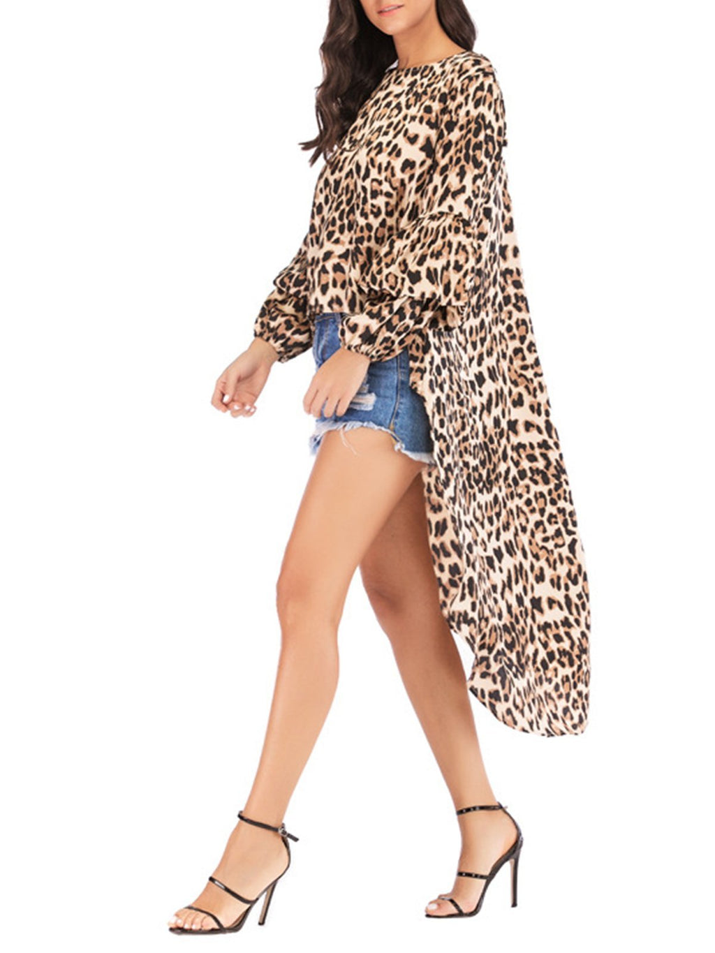Animal Print Midi Length Fashion Spring Blouse - Popross