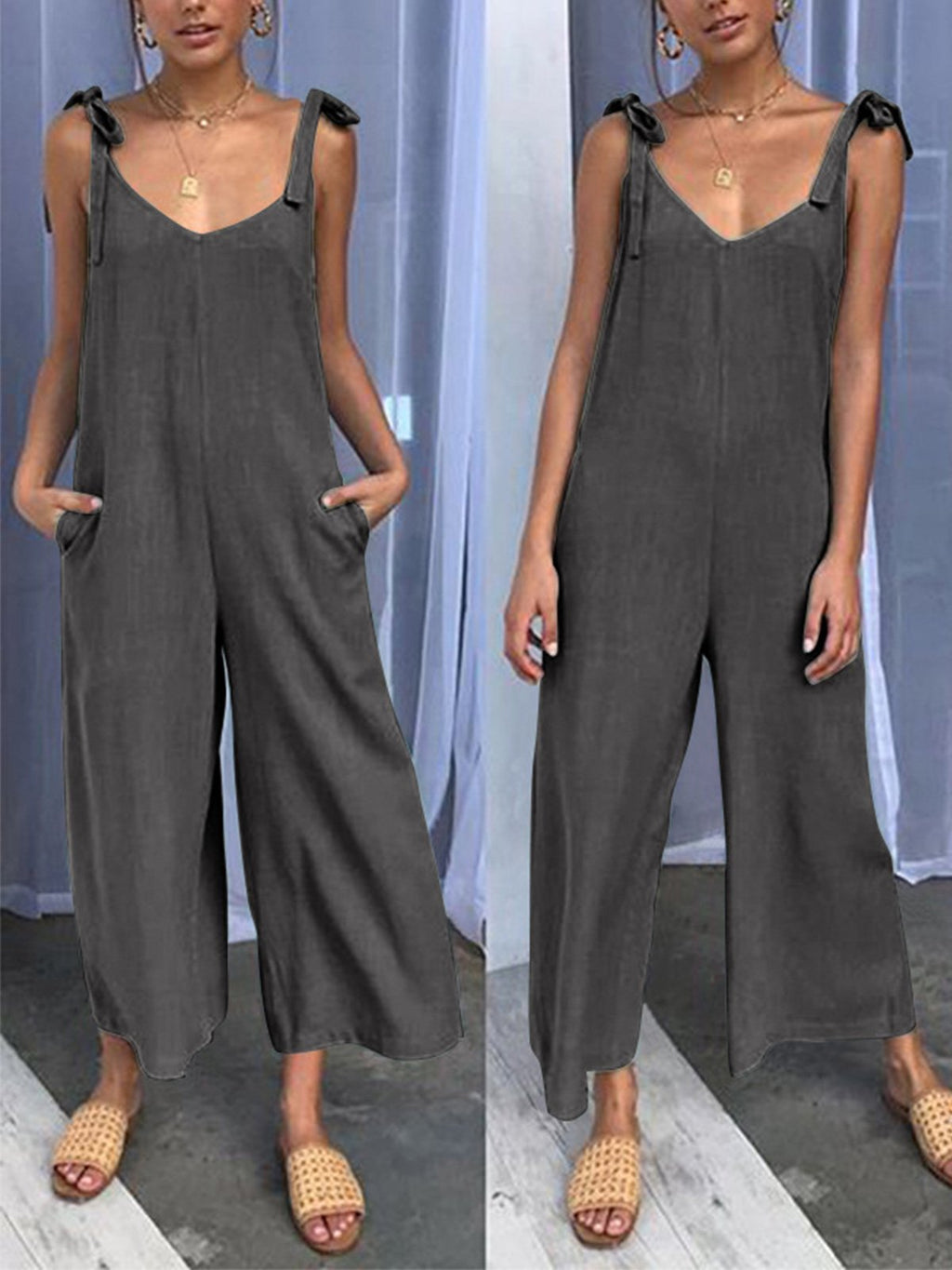 Summer/Spring Lace-up Loose Jumpsuits