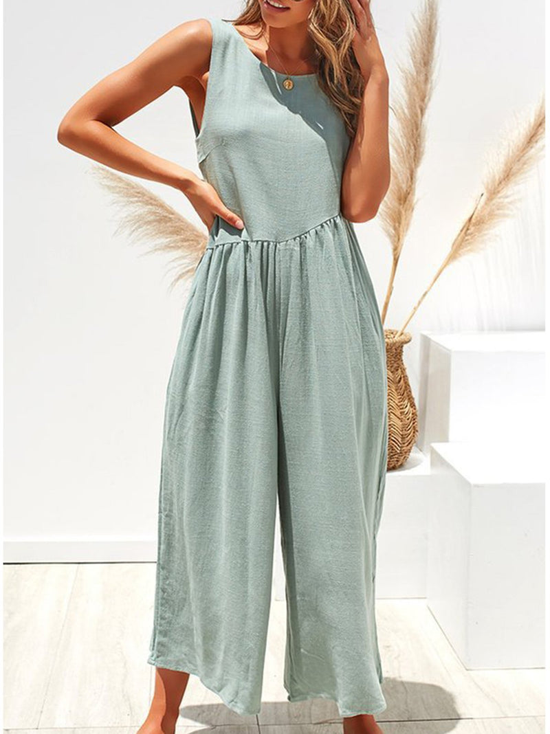 Sleeveless Backless Slope Yoke Gathering Women Jumpsuits