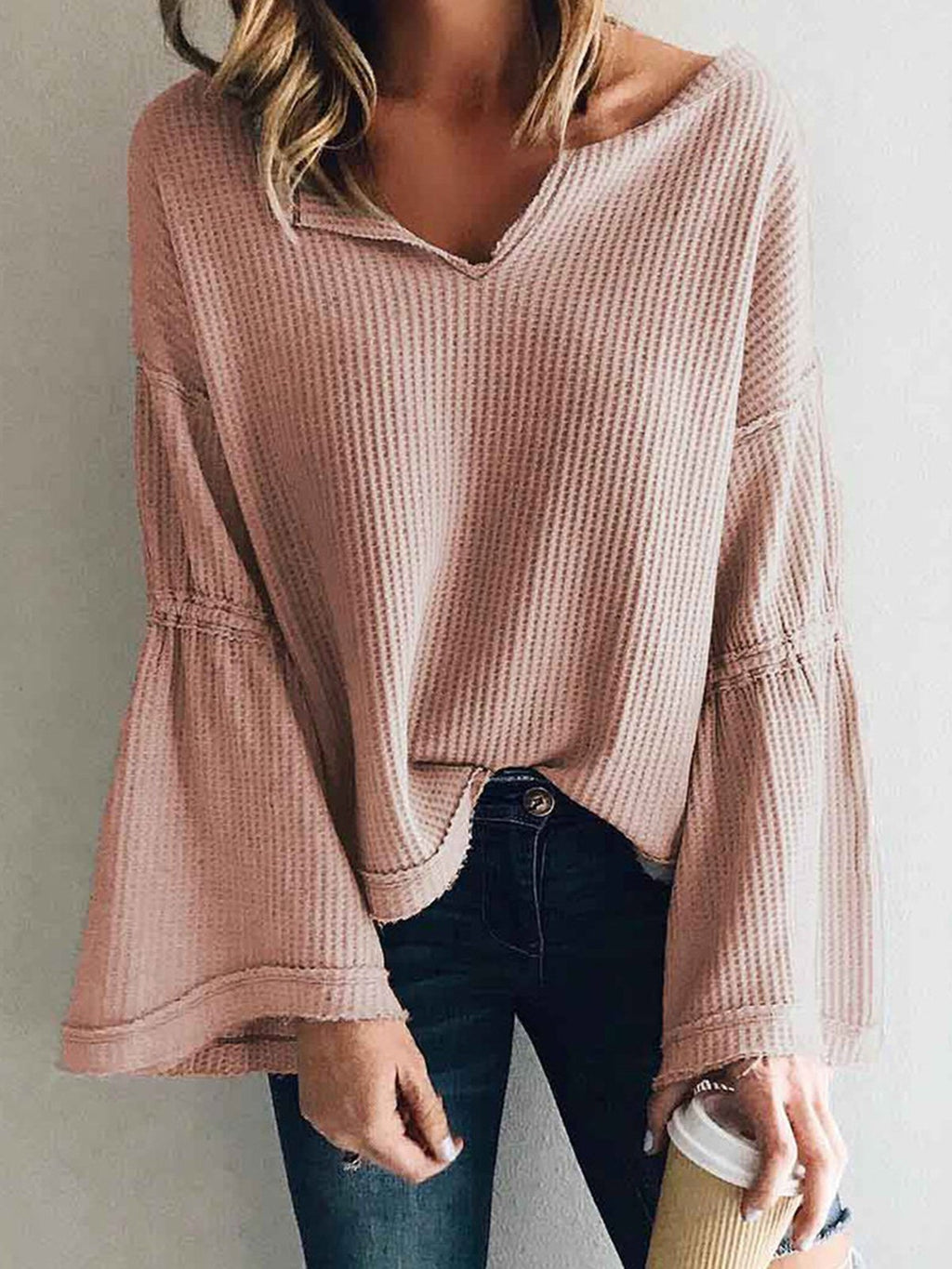 Fashion V Neck Long Sleeve Bell Sleeve Loose Solid Knit Blouse - Popross