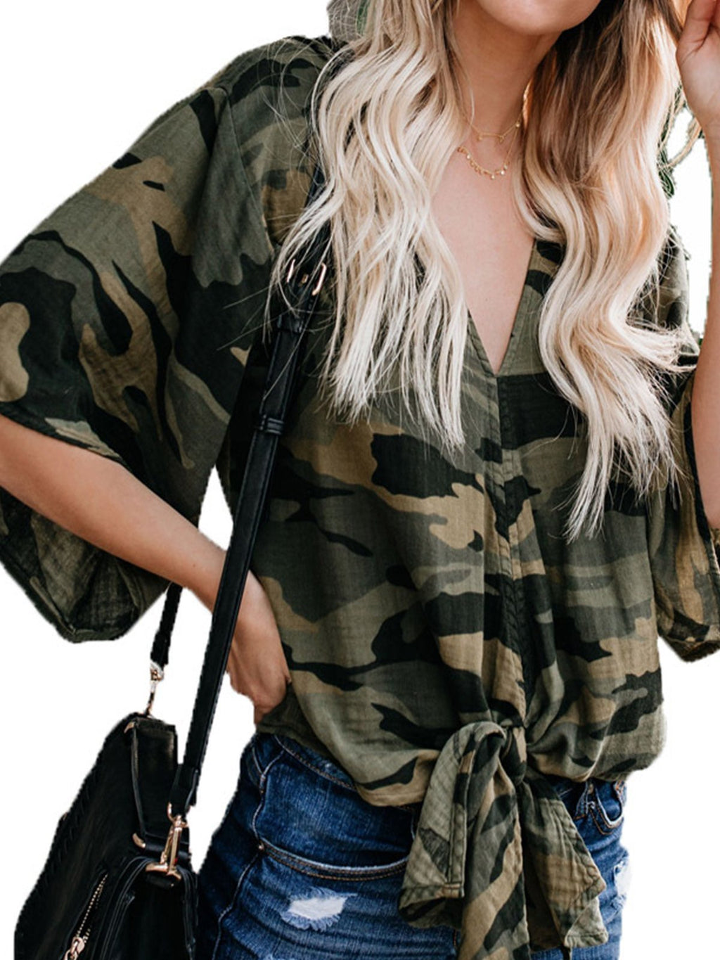 Camouflage V Neck Batwing Half Sleeve T-shirt - Popross
