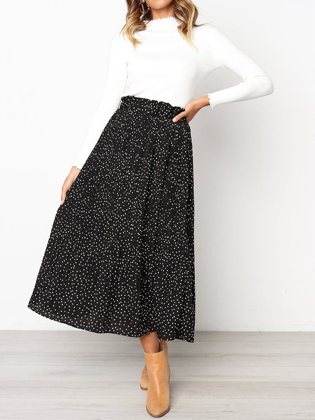 Polka Dot High rise Pleated A-line Midi Skirt - Popross