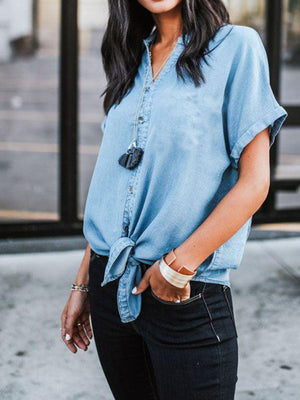 Solid V Neck Short Sleeve Denim Shirt - Popross