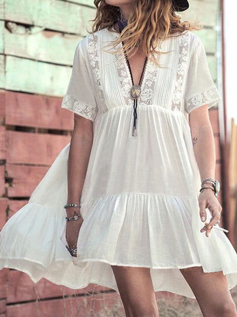White Solid V Neck Short Sleeve Ruffle Mini Dress