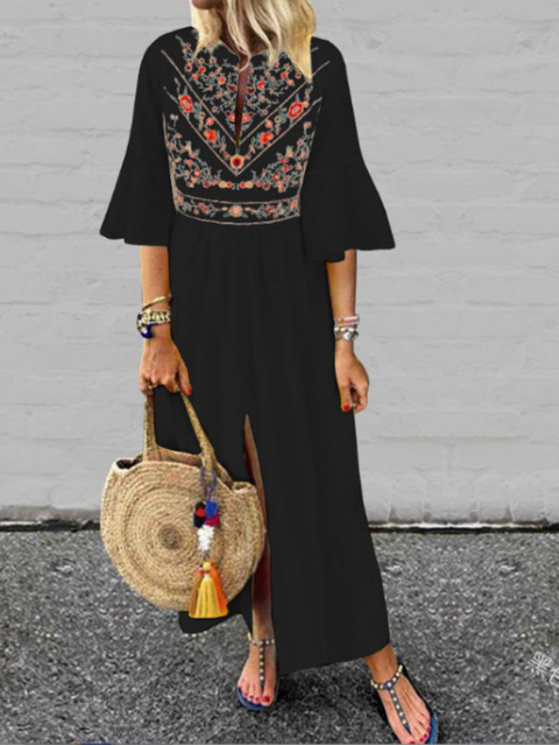 Floral 3/4 Sleeve Slit Plus Size Ethnic Style Maxi Dress - Popross