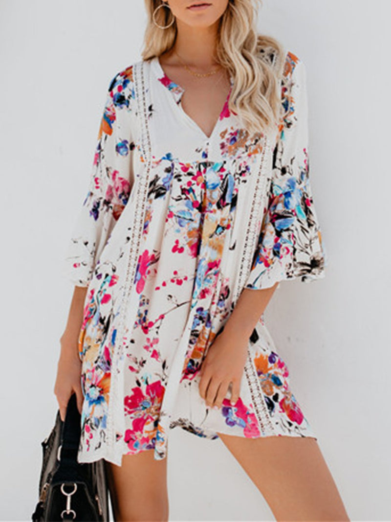 White Floral V Neck Half Bell Sleeve Hollow-out Mini Dress