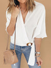 White Solid V Neck Half Sleeve Buckle Loose T-shirt - Popross