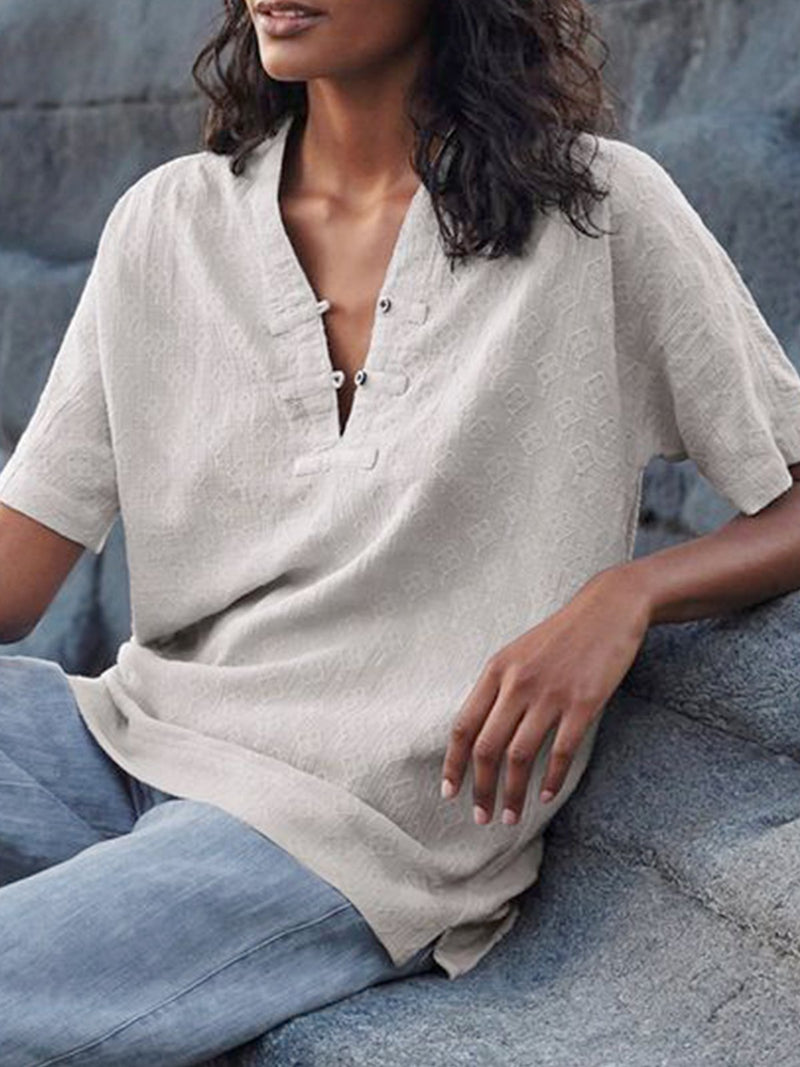 Short Sleeve Casual Solid V Neck Frog Button Shirt
