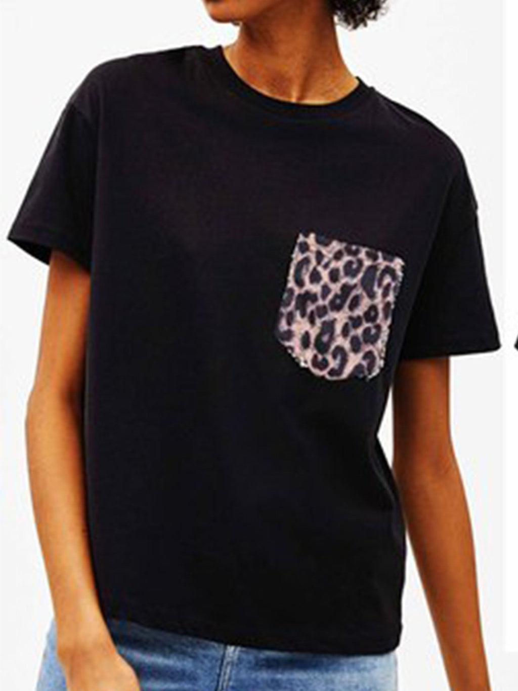 Black Leopard Pocket Round Neck Short Sleeve T-shirt - Popross