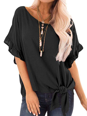 Solid Round Neck Short Sleeve Twisted Loose Midi T-shirt - Popross