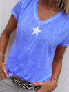 Star Print V Neck Short Sleeve Plus Size T-shirt - Popross
