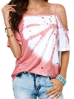 Floral One Shoulder Short Sleeve Loose T-shirt - Popross