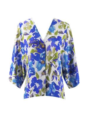 Floral V Neck Half Batwing Sleeve Buttons Loose Blouse - Popross
