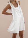 Solid Square Neck Sleeveless A-line Mini Dress - Popross