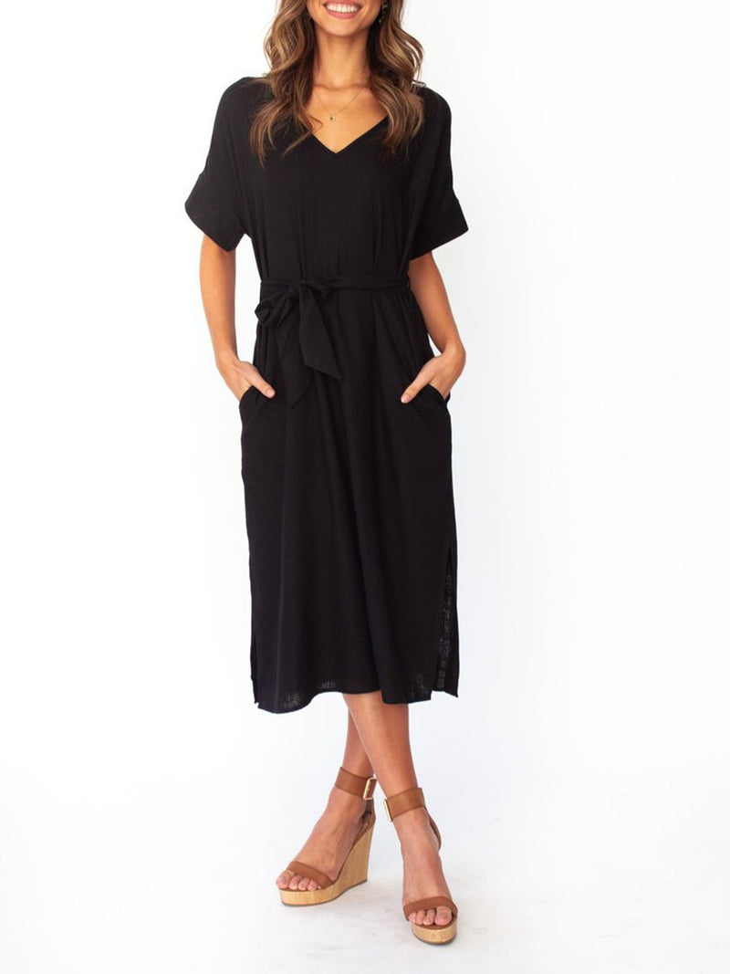 Solid V Neck Short Sleeve Belted Slit Midi Dress - Popross
