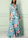 Floral V Neck 3/4 Sleeve Plus Size Evening Party Maxi Dress - Popross