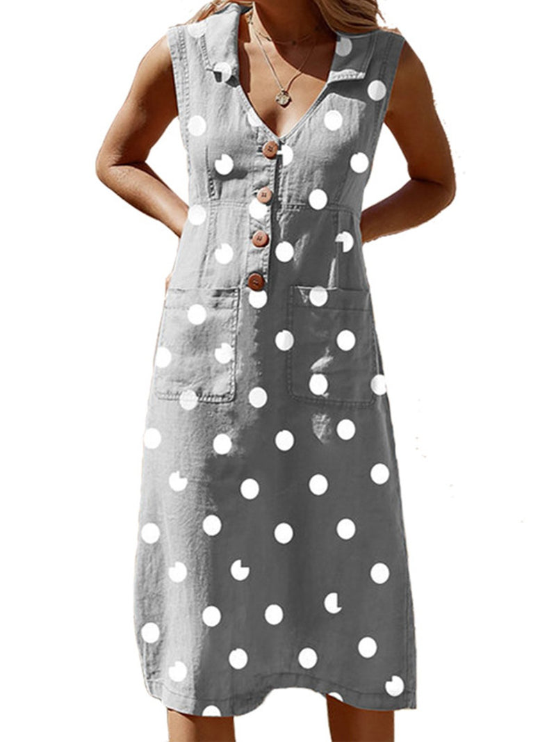Polka Dot V Neck Sleeveless Buttons Pockets A-line Plus Size Midi Dress - Popross