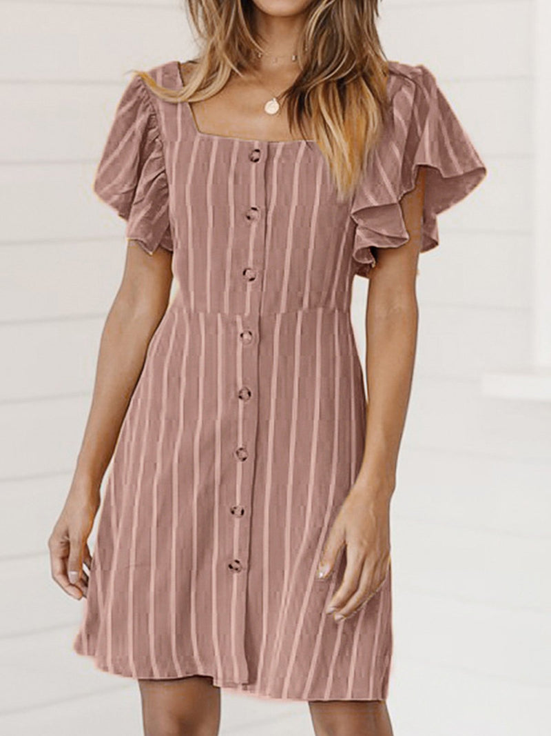 Stripe Cotton Square Neck Short Sleeve A-line Mini Dress