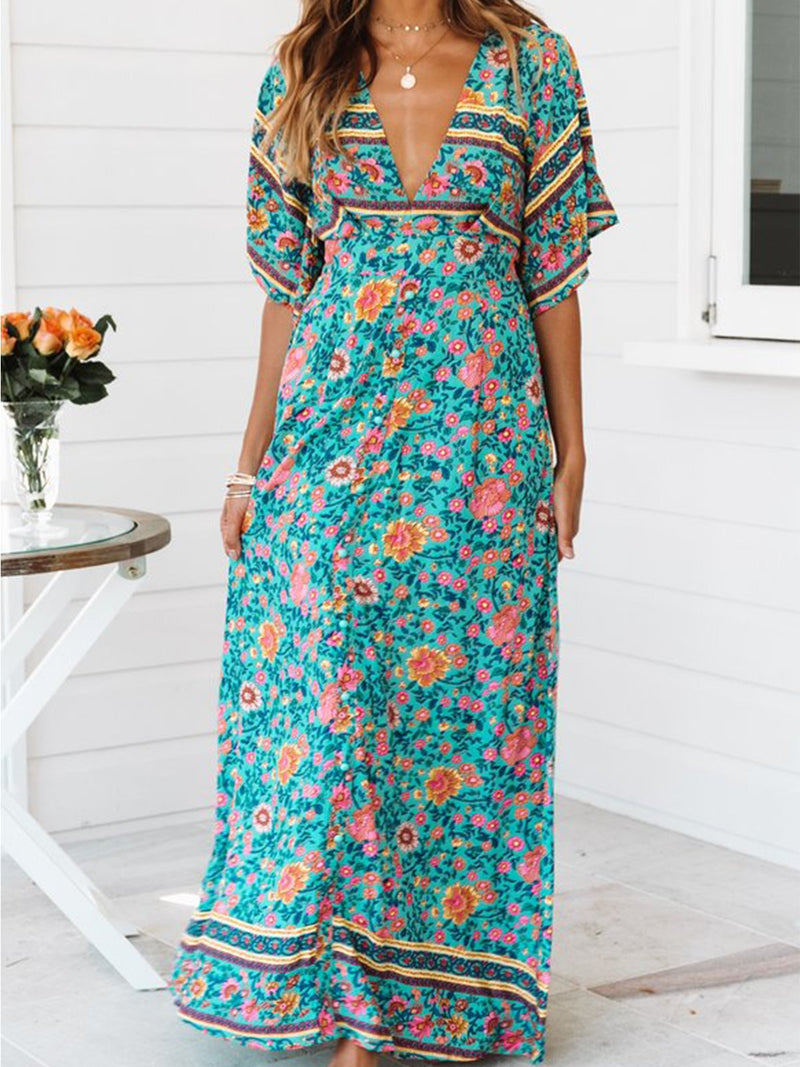 Light Green Floral V Neck Short Sleeve Maxi Dress - Popross