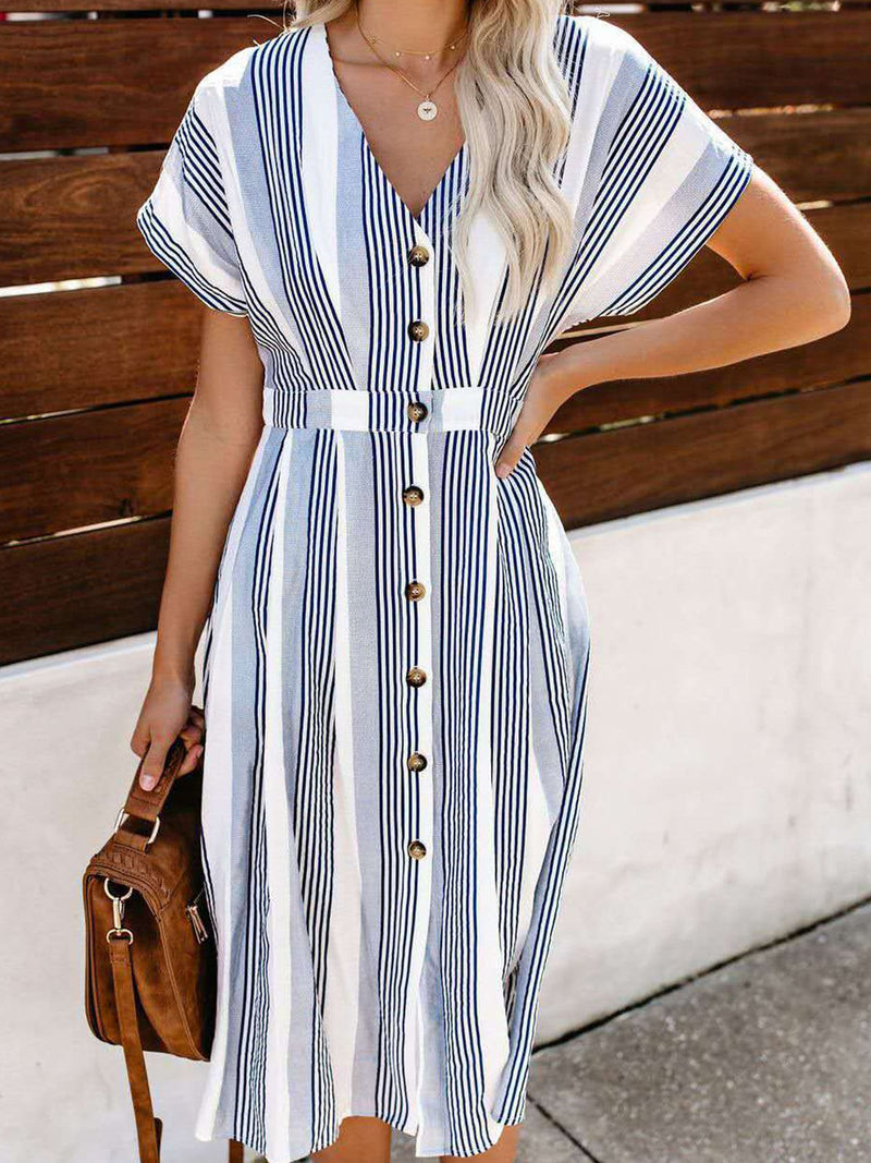 White Stripe Cotton V Neck Short Sleeve Buttons Midi Dress
