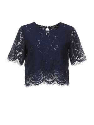 Solid Lace Short Sleeve Round Neck Fit T-shirt - Popross