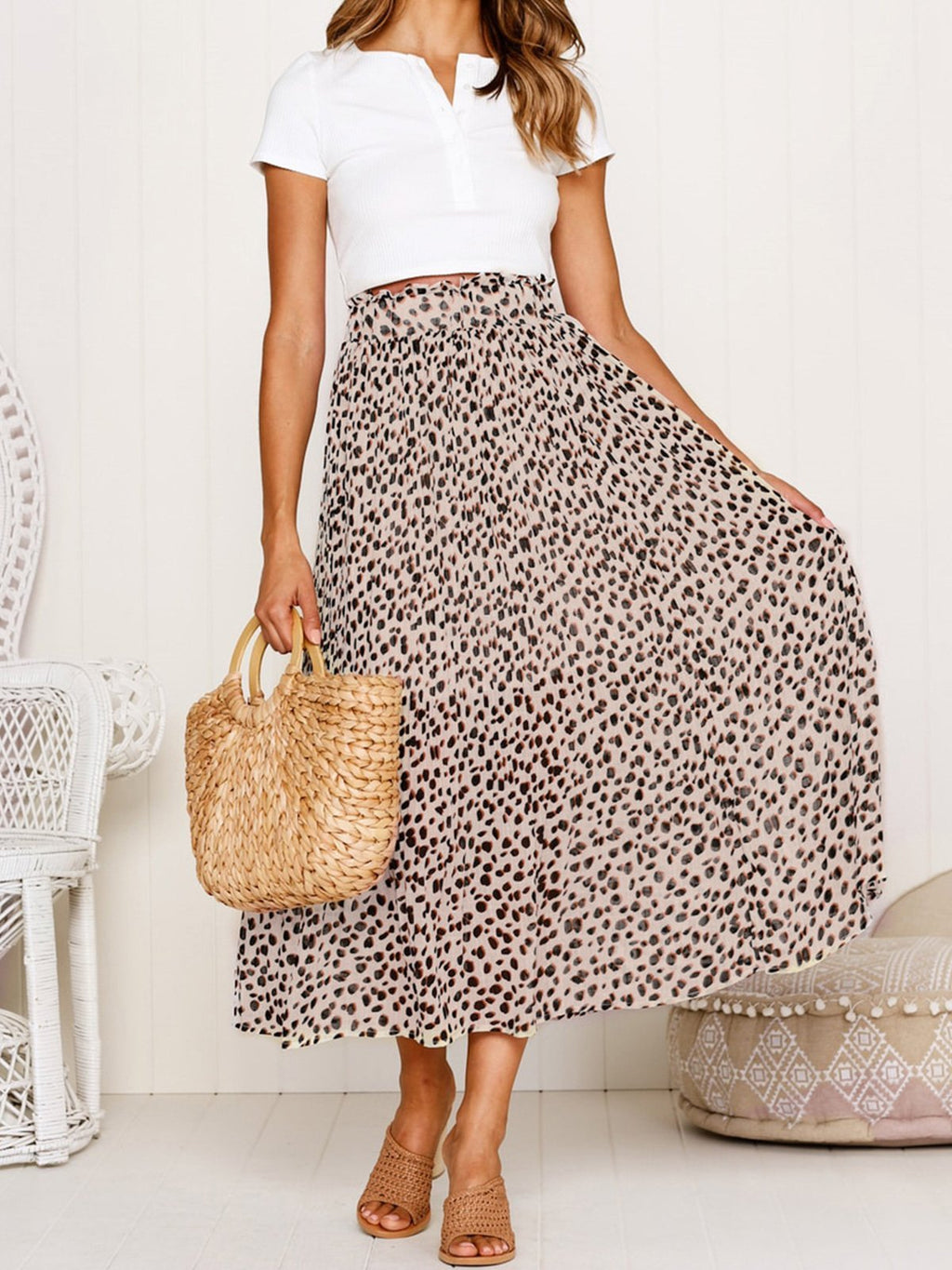 Leopard Print High Waist Midi Skirt - Popross