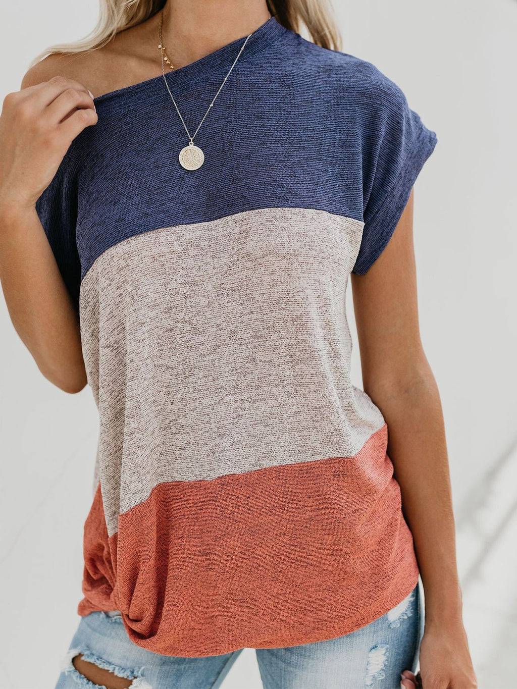 Color-block Round Neck Short Sleeve Fit T-shirt - Popross