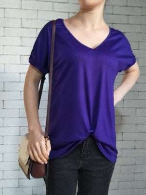 Solid V Neck Short Sleeve Twisted T-shirt - Popross