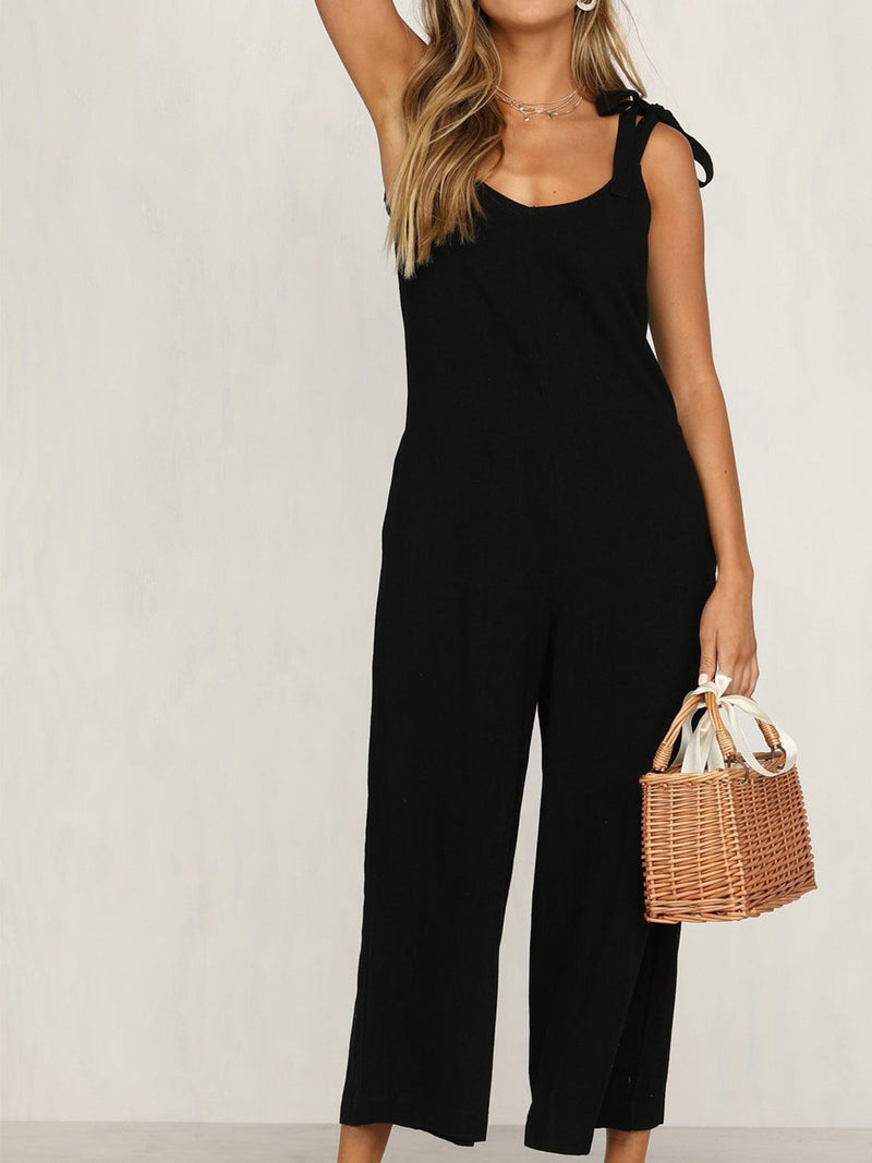 Solid V Neck Spaghetti Strap Wide-leg Jumpsuit