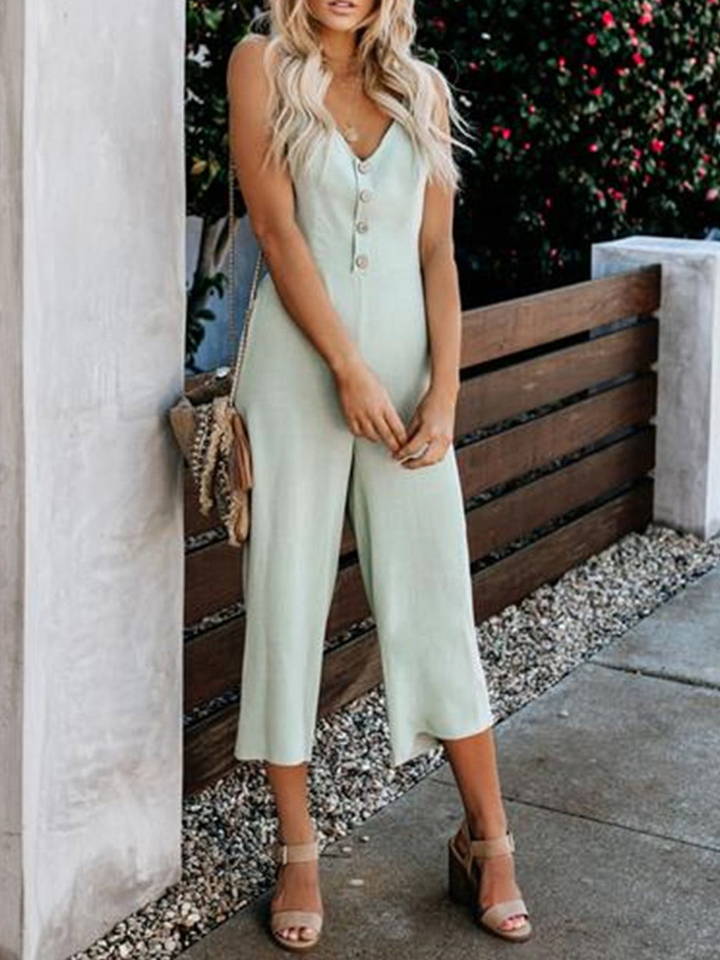 Solid V Neck Spaghetti Strap Buttons Backless Sexy Jumpsuit