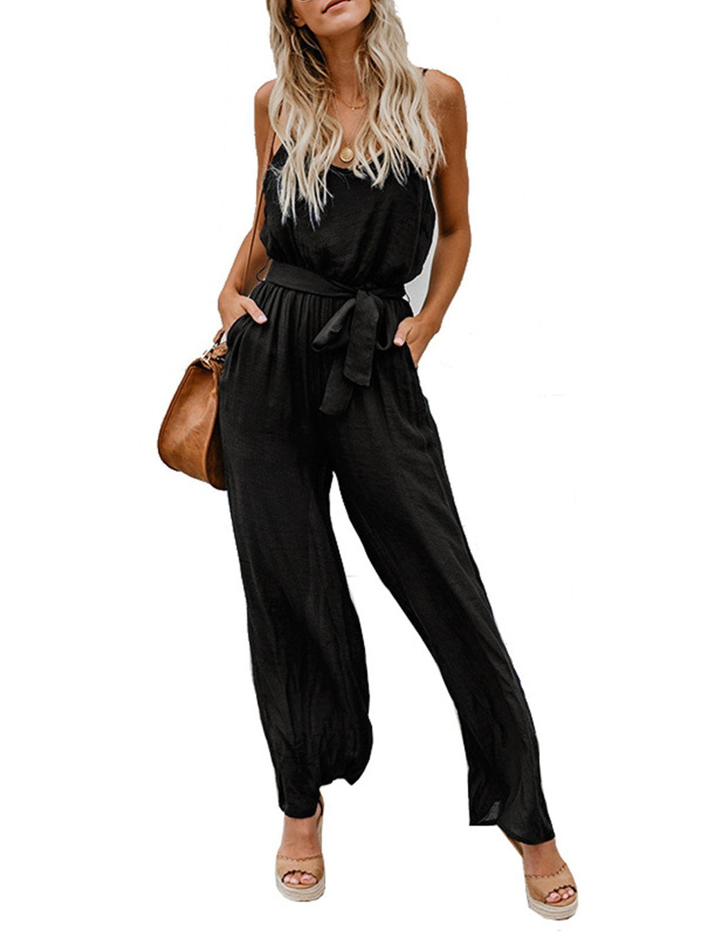 Solid V Neck Spaghetti Strap Belted Sexy Jumpsuit