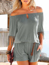 Solid Off Shoulder Short Sleeve Tassels Jumpsuit