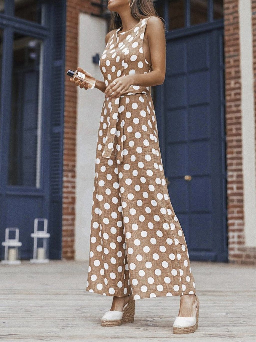 Khaki Casual Round Neck Round Dots Jumpsuits - Popross