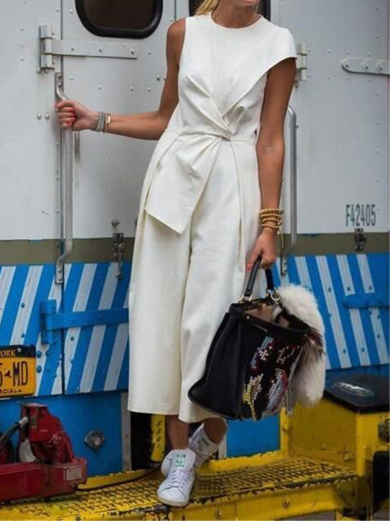 Pure White Wide-leg Self-tied Jumpsuits - Popross