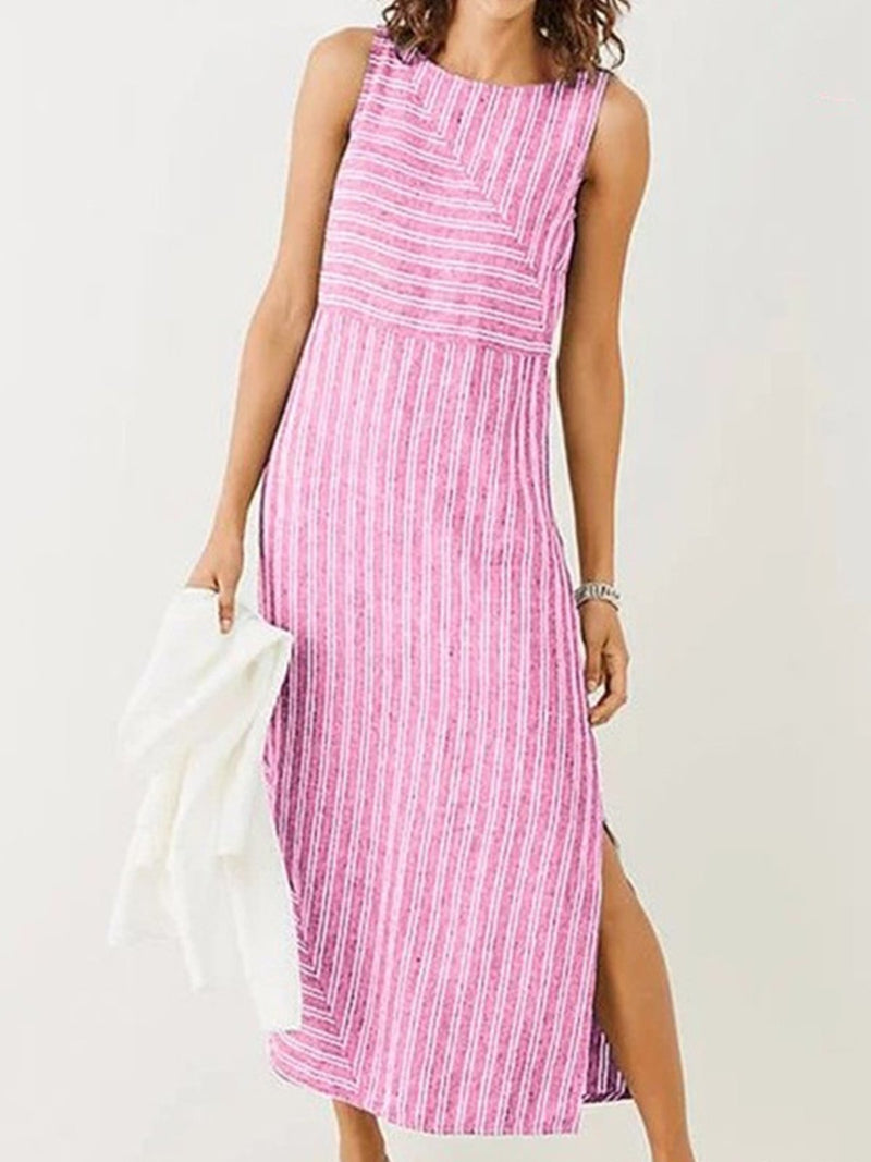 Cotton Stripe Round Neck Slit Hem Dress - Popross