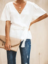 Women Solid Self-Tied Waist Flare Short Sleeve Blouse - Popross