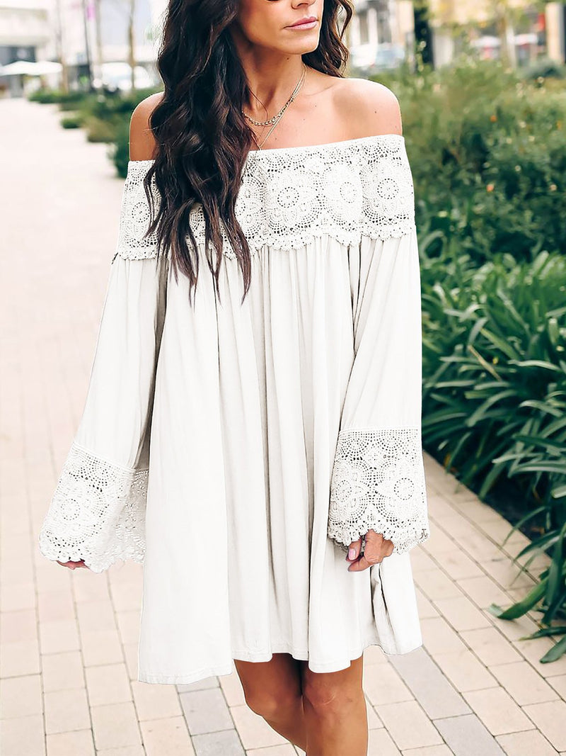 Appliqued Lace Shoulder Flare Sleeve Dress - Popross