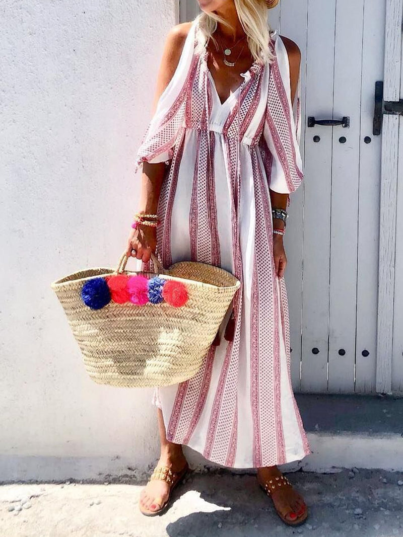 Stripe Ruffle Slit Sleeve V Neck Cold Shoulder Maxi Dress - Popross