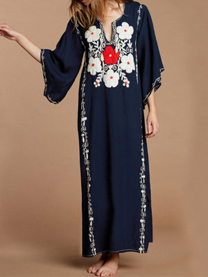Rayon Navy Floral Beach Cover-Up Maxi Dress - Popross