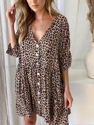 Bagged Leopard Print V Neck 3/4 Sleeve Button-Down Dress - Popross