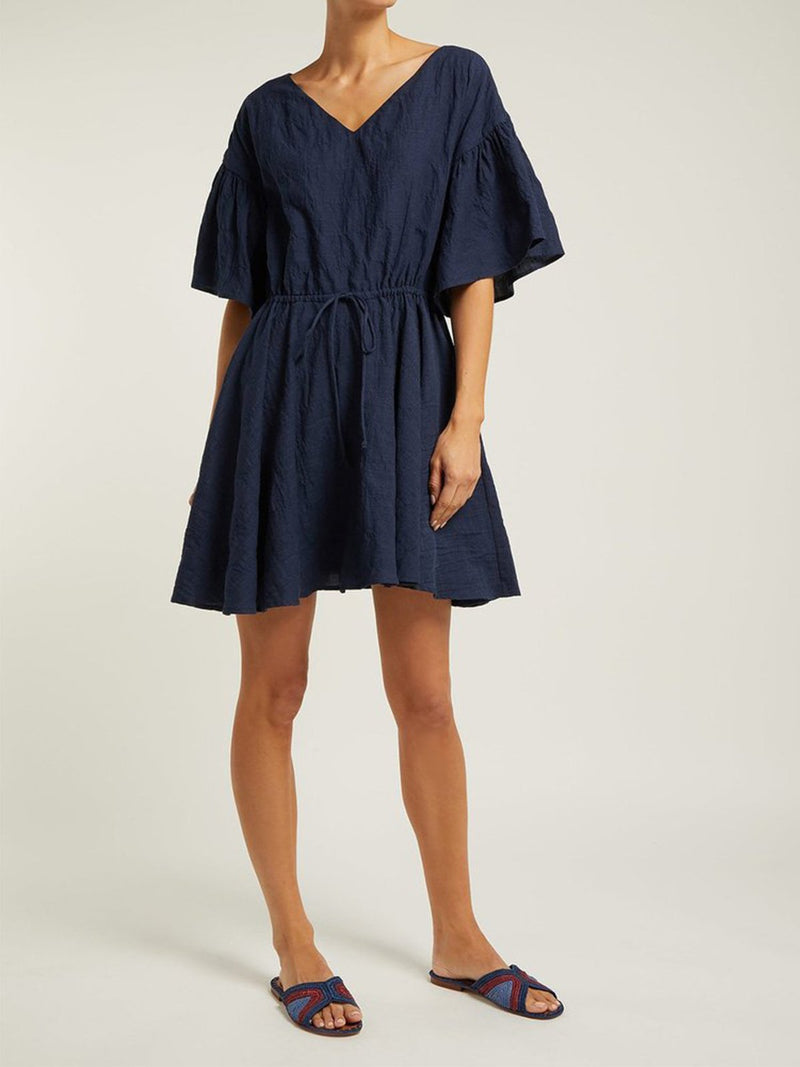 V Neck Belted Flare Sleeve Midi Dress - Popross