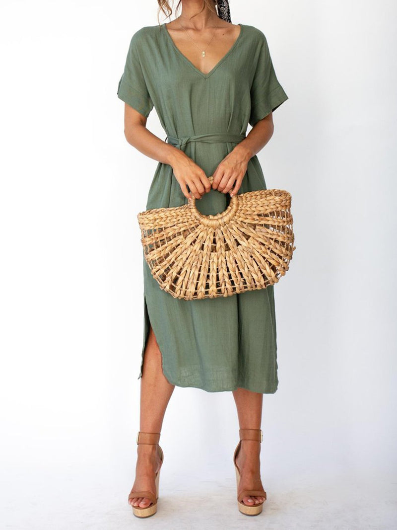 Linen/Cotton V Neck Belted With Self-Tied Waistband Slit Dress - Popross